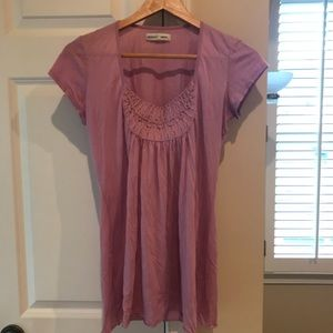 Anthropologie Lilac Embroidered Tee xs